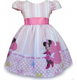 Vestido Infantil Festa Princesa Minnie Rosa