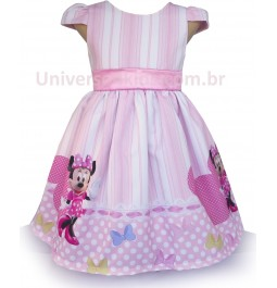 Vestido Minnie Rosa de Festa Disney