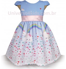 Vestido Infantil Nuvens Chuva de Amor