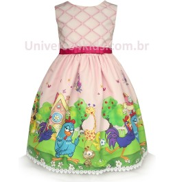 Vestido Galinha Pintadinha Rosa